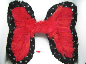 Крылья перьевые красные с каемкой