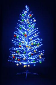 """LED-""""Ель""""синяя, 150см, с разноцвцветными шариками"""