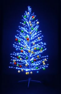 """LED-""""Ель""""синяя, 180см, с разноцвцветными шариками"""