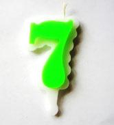 Свеча цифра 7 (зеленая )