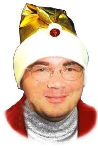 Колпачок Деда Мороза, золотой, музыкальный