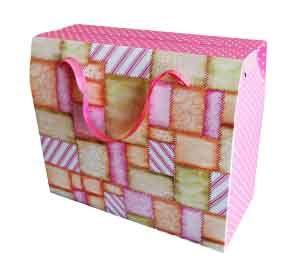 Пакет бумажный желто-розовый