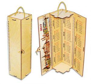 Футляр-календарь деревянный 4-гранный