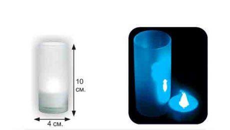 LED-свеча, в матовом стаканчике (синяя)