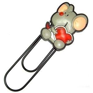 Закладка-скрепка  Мышка с сердечком (12см.)