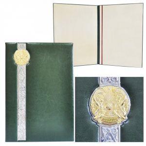 Папка с декоративной лентой и с гербом республики Казахстан