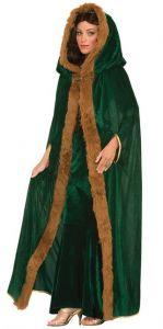 Накидка зеленая с мехом