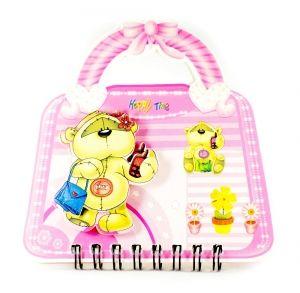 """Блокнот """"Мишка"""" на сумочке розовый"""