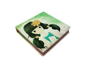 Блокнот бледно-зеленый  Девочка  (8*8см)