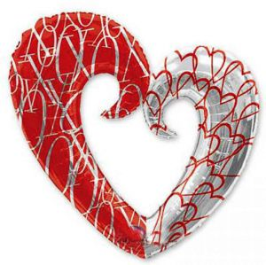 Сердце вензель двухцветное (76/81 см.)