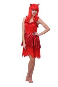 Платье Ведьмочки красное с париком